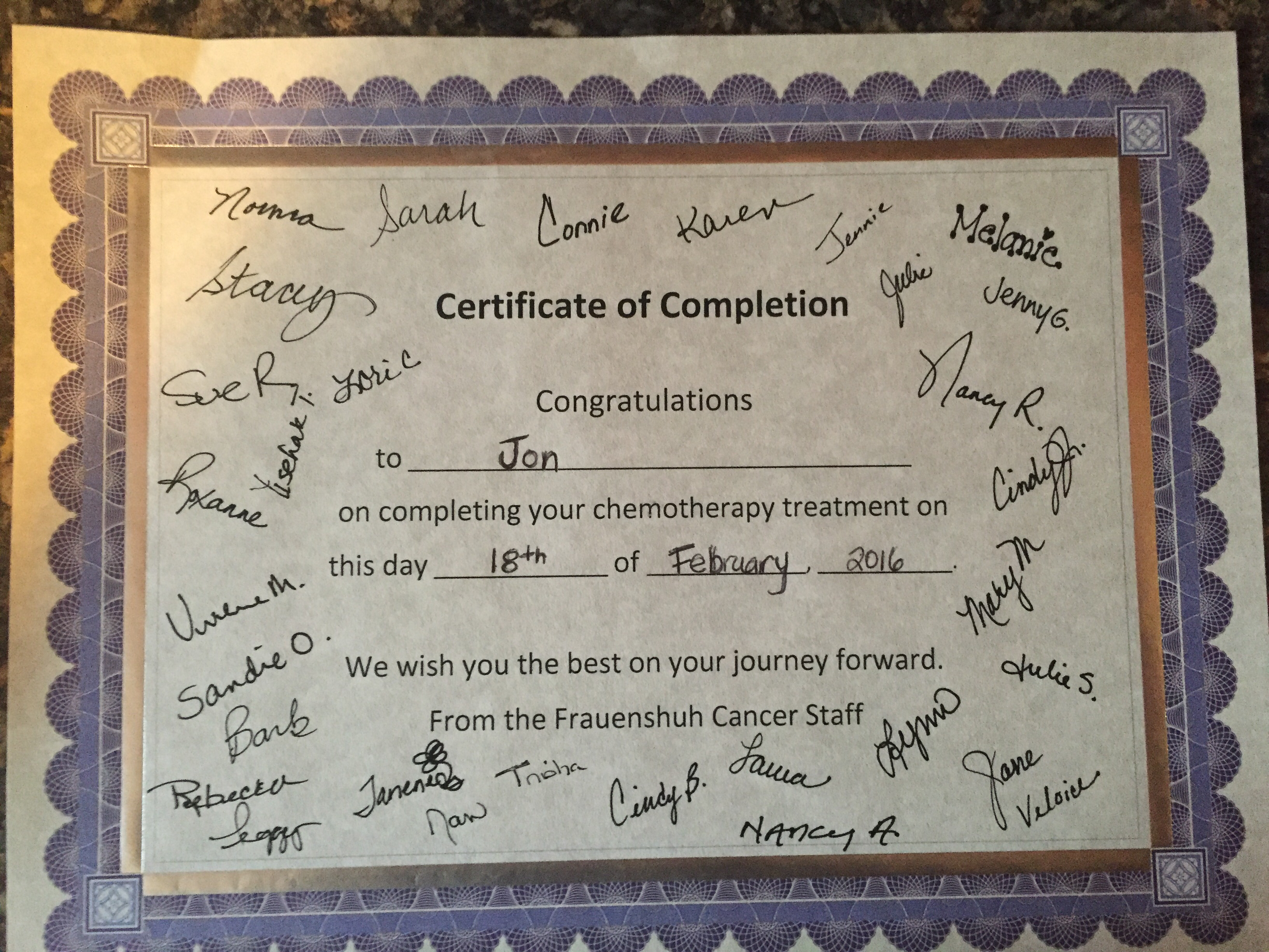 Certificate My Rectal Cancer Journey